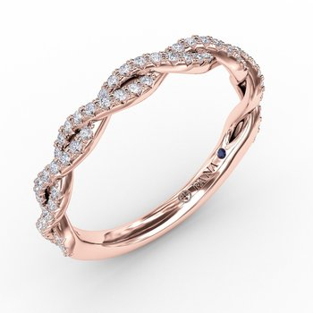 French Pave Diamond Twist Band