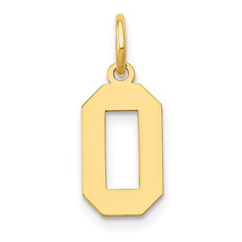 14k Small Polished Number 0 Charm