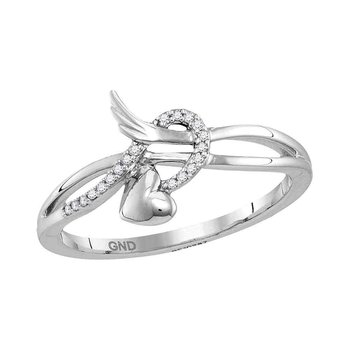 10kt White Gold Womens Round Diamond Heart Whimsical Band Ring 1/20 Cttw