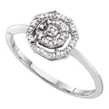 10kt White Gold Womens Round Diamond Octagon Cluster Ring .03 Cttw