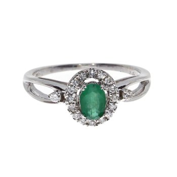 14k White Gold Oval Emerald and Diamond Halo Ring