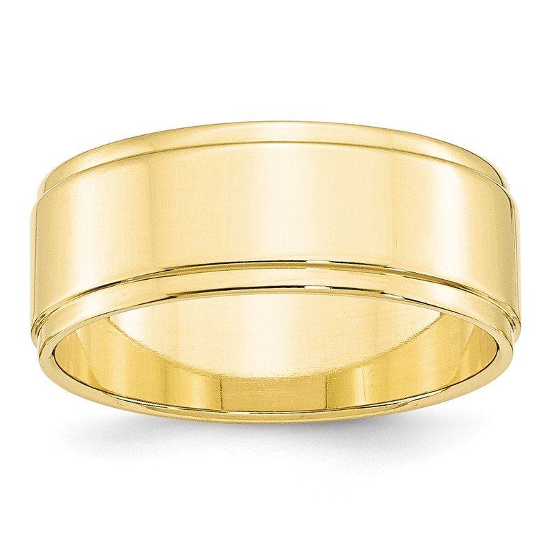 Quality Gold 10KY 8mm Flat with Step Edge Band Size 10