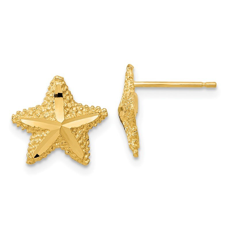 Quality Gold 14k Polished Diamond-cut Starfish Post Earrings