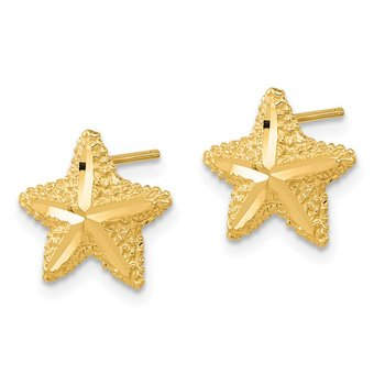 14k Polished Diamond-cut Starfish Post Earrings