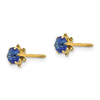 14k Madi K 4mm Synthetic (Sep) Screwback Earrings