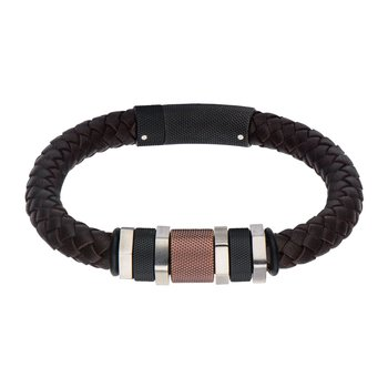 Plated Black & Brown Bead Leather Bracelet