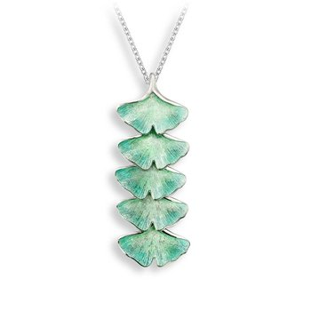 Turquoise Ginkgo 5-Leaf Necklace.Sterling Silver