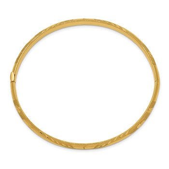 14k 3/16 Oversized Laser Cut Hinged Bangle Bracelet