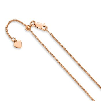 Leslie's Sterling Silver Adjustable Rose Gold-plated 1.3mm D/C Wheat Chain