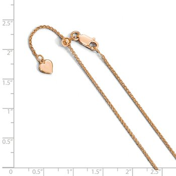 Leslie's Sterling Silver Adjustable Rose Gold-plated 1.3mm Spiga Chain