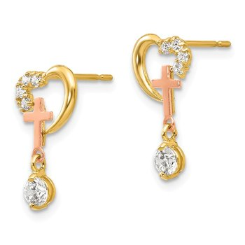 14k Madi K Two-tone CZ Children's Cross & Heart Post Earrings