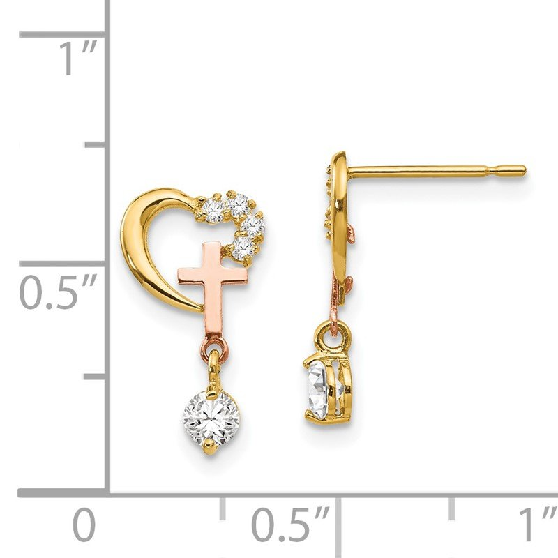 Fine Jewelry by JBD 14k Madi K Two-tone CZ Children's Cross & Heart Post Earrings