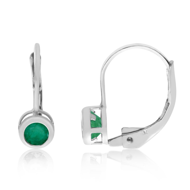 Color Merchants 14k White Gold 4mm Emerald Bezel Leverback Earrings