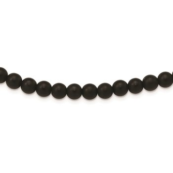 Stainless Steel Brushed Black Agate Antiqued Clasp 27in Necklace