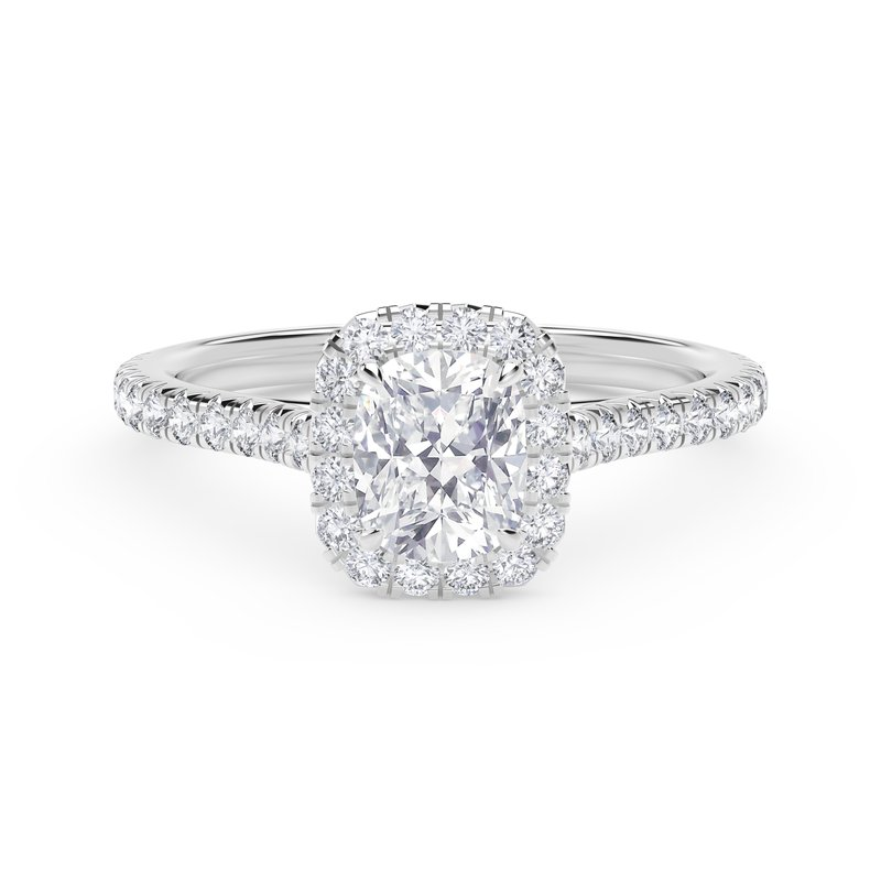 Center of My Universe® Cushion Halo Engagement Ring with Diamond Band