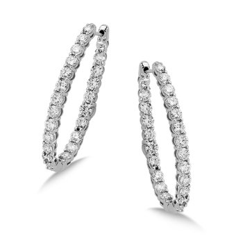 Pave set Diamond Oval Reflection Hoops in 14k White Gold (1 3/4 ct. tw.) JK/I1