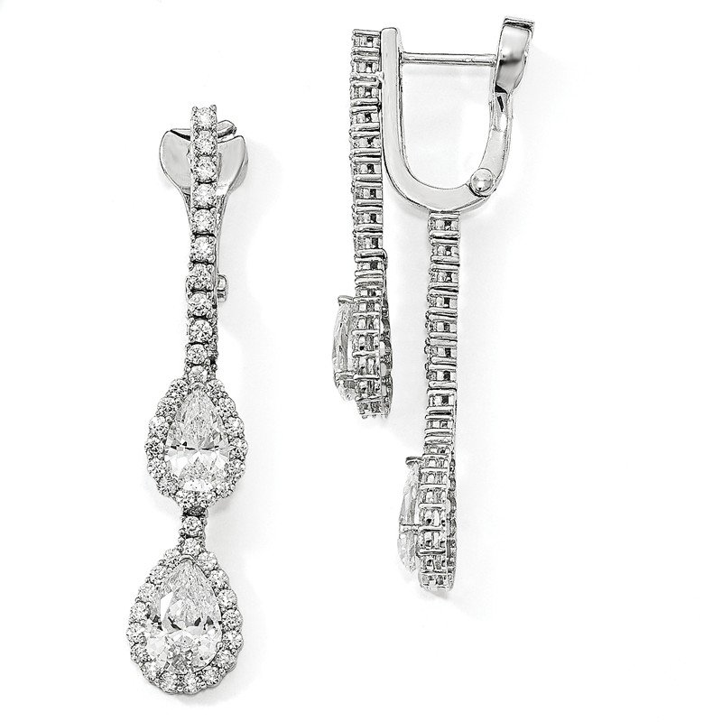 Quality Gold Sterling Silver Rhodium-plated CZ Dangle Safety Hinged Earrings