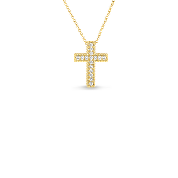 18KT GOLD LARGE PRINCESS CROSS WITH DIAMONDS
