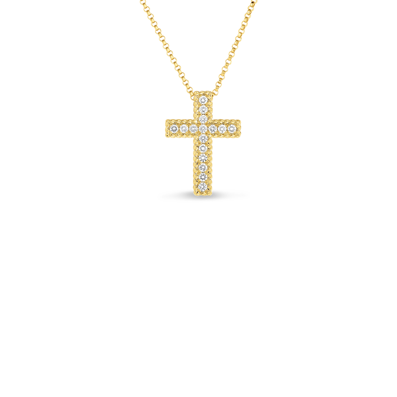 Roberto Coin 18Kt Gold Large Princess Cross With Diamonds