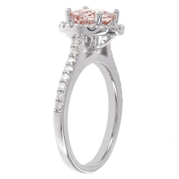 14k White 1 1/7ct Morganite Center, 1/2ct Diamond Halo Engagement Ring