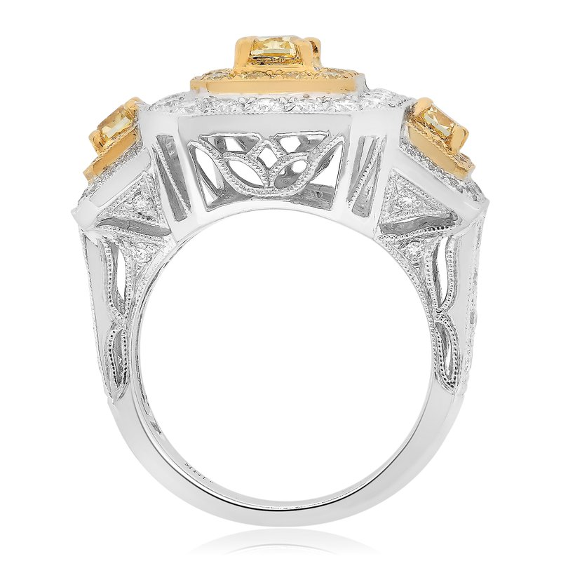 Roman & Jules Three Stone Yellow Diamond Ring