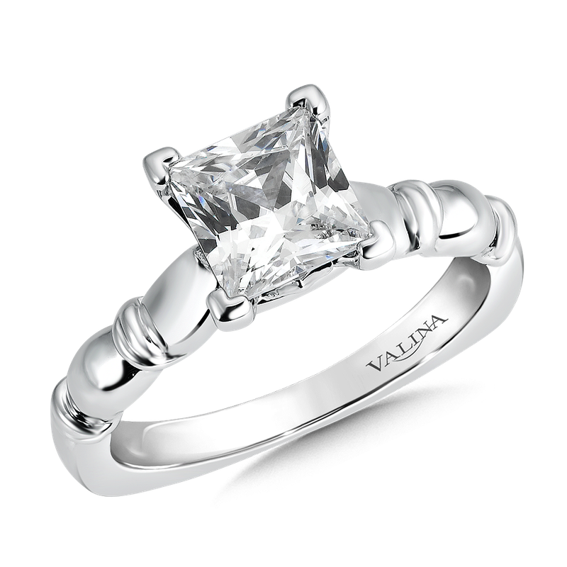 Valina Solitaire mounting .03 tw., 1 1/2 ct. Princess center.