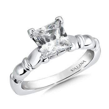 Solitaire mounting .03 tw., 1 1/2 ct. Princess center.