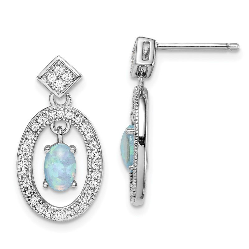 Quality Gold Sterling Silver Rhodium-plated Created Opal/CZ Post Dangle Earrings