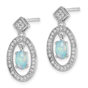 Sterling Silver Rhodium-plated Created Opal/CZ Post Dangle Earrings