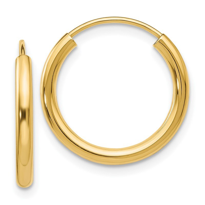 Quality Gold 14k Polished Round Endless 2mm Hoop Earrings