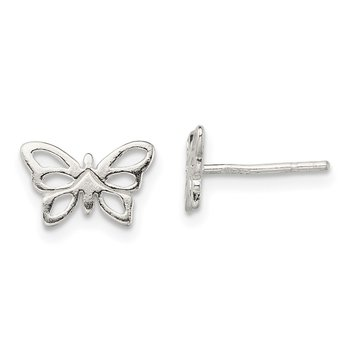 Sterling Silver Polished Butterfly Post Earrings