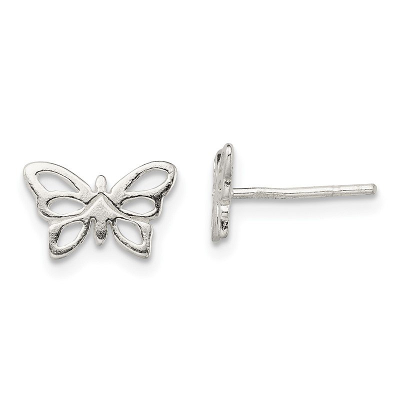 Quality Gold Sterling Silver Polished Butterfly Post Earrings