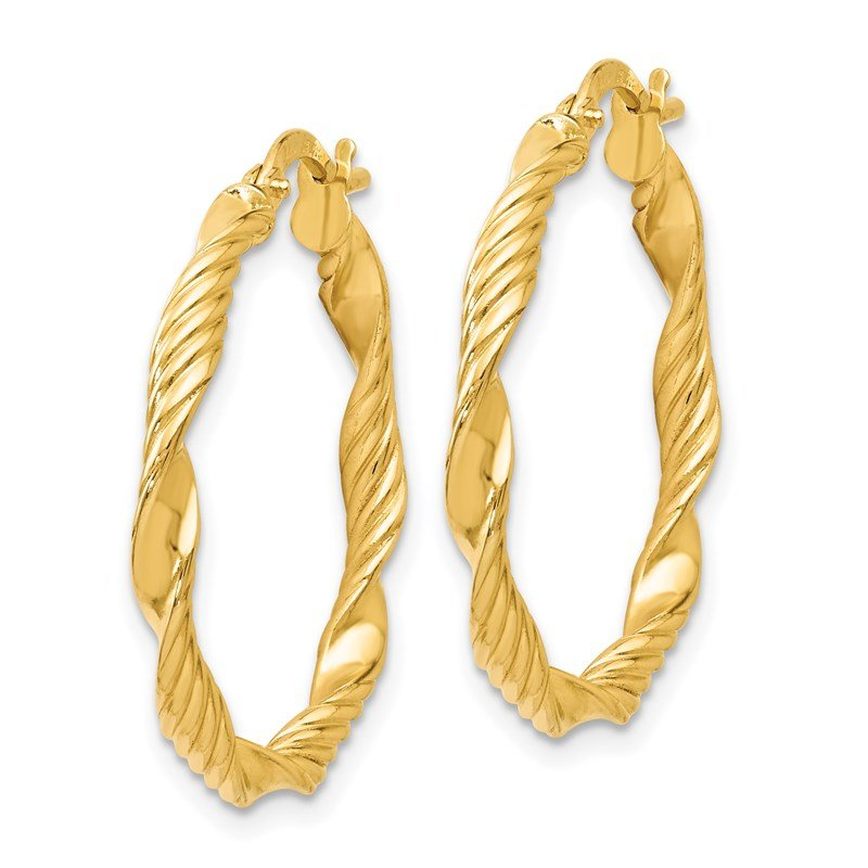 Leslie's Leslie's 14K Polished and Textured Twisted Hoop Earrings