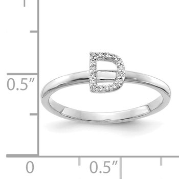 14k White Gold Diamond Initial D Ring