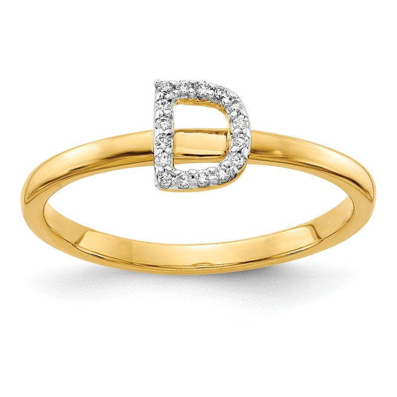 Quality Gold 14k White Gold Diamond Initial D Ring