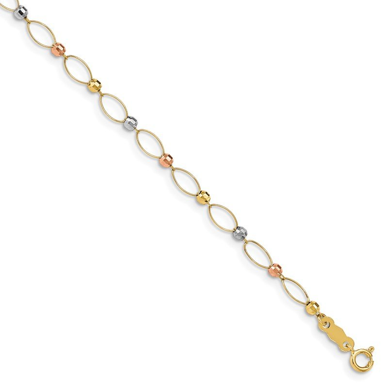 Quality Gold 14K Gold Tri-color Oval Link Two-tone Mirror Beads Bracelet