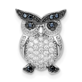 Sterling Silver Rhodium-plated Black and Clear CZ Owl Chain Slide