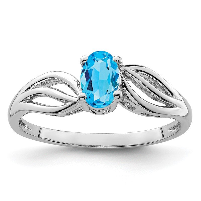 Quality Gold Sterling Silver Rhodium-plated Light Swiss Blue Topaz Ring