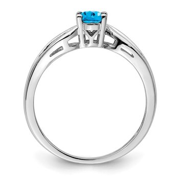 Sterling Silver Rhodium-plated Light Swiss Blue Topaz Ring
