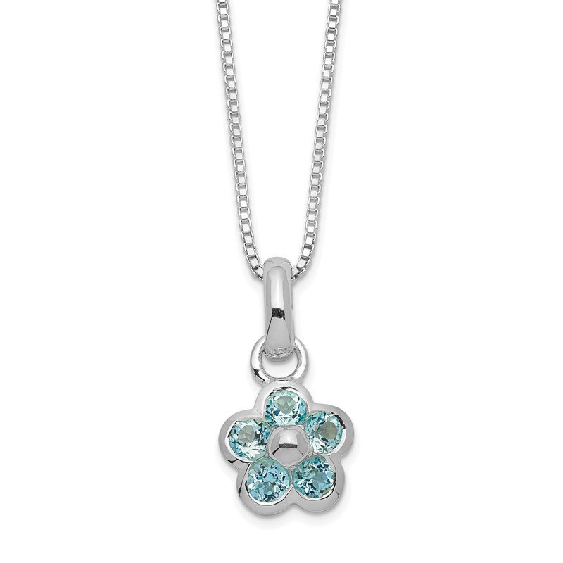 Quality Gold Sterling Silver Blue Topaz Flower Pendant Necklace