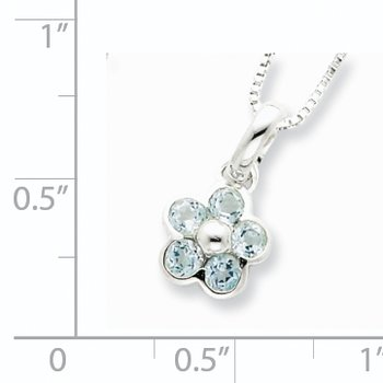 Sterling Silver Blue Topaz Flower Pendant Necklace