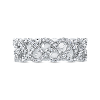10K White Gold 1.00 ct Diamond Criss Cross Wedding Band Ring