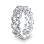 Essentials 10K White Gold 1.00 ct Diamond Criss Cross Wedding Band Ring