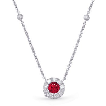 White Gold Ruby & Diamond Necklace
