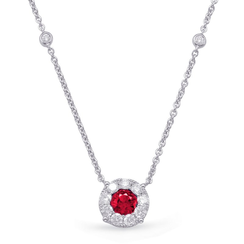 S. Kashi  & Sons White Gold Ruby & Diamond Necklace
