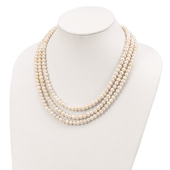 Sterling Silver Triple Strand White FW Cultured Pearl Necklace