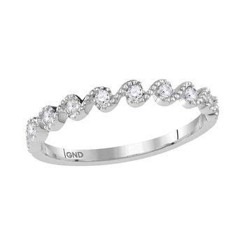 10kt White Gold Womens Round Diamond Cascading Stackable Band Ring 1/6 Cttw