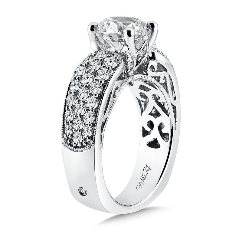 Caro74 Engagement Ring With Side Stones in 14K White Gold with Platinum Head (2ct. tw.)