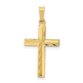 14k Diamond-cut Hollow Cross Pendant