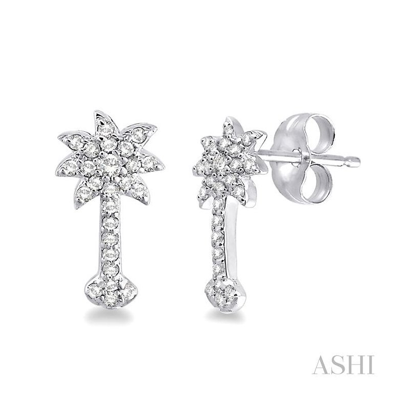 ASHI palm tree diamond earrings